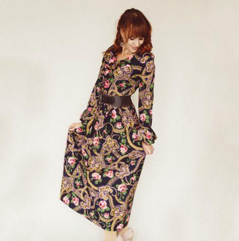 Frau Lux Vintage – Kleid langarm mit Paisleymuster