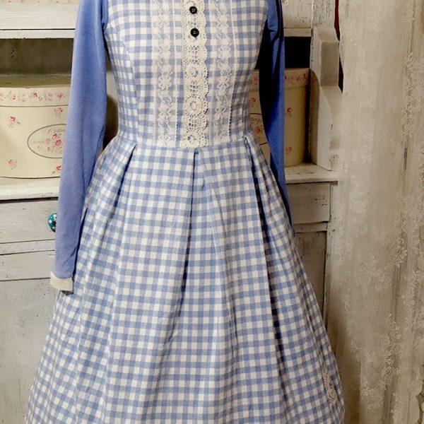 Frau Lux True Vintage Kleid lila kariert