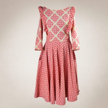 Frau Lux Vintage rotes Kleid mit Taschen