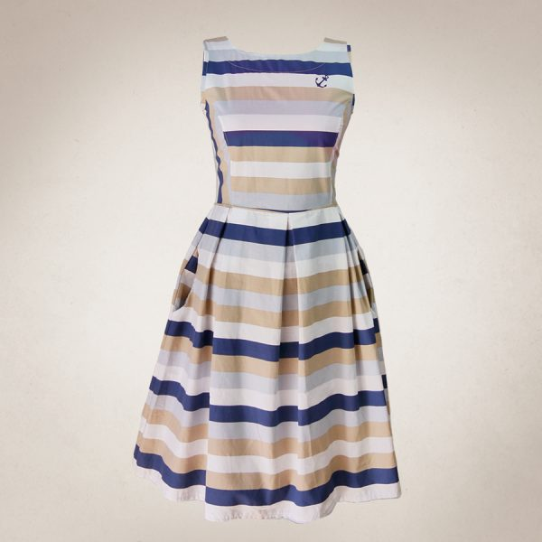 Frau Lux Vintage – maritimes Sommerkleid gestreift mit Anker