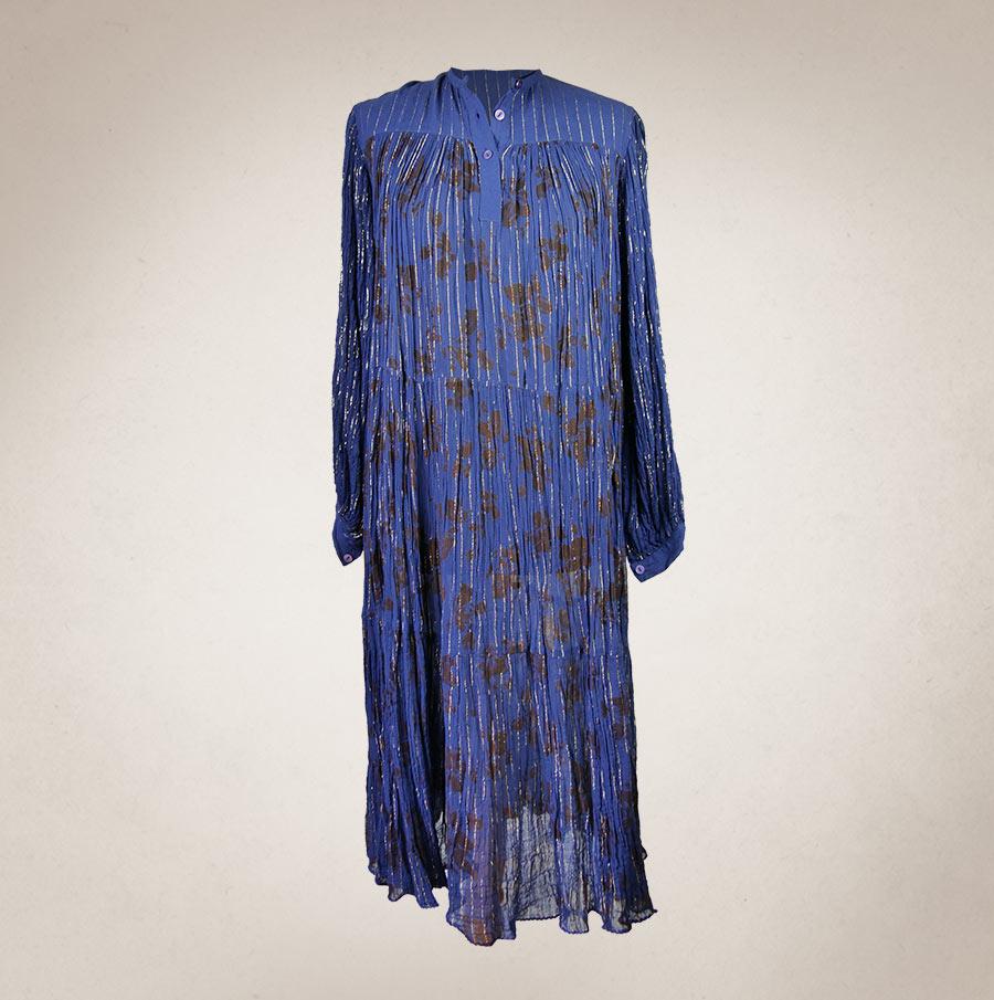 dc41143bcb9 Blaues 70 s Maxidress - Frau Lux Vintage
