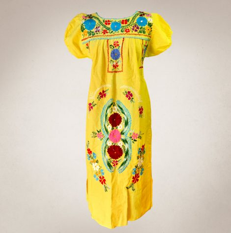 Frau Lux Vintage – traditionelles Kleid mit Blumenstickerei gelb