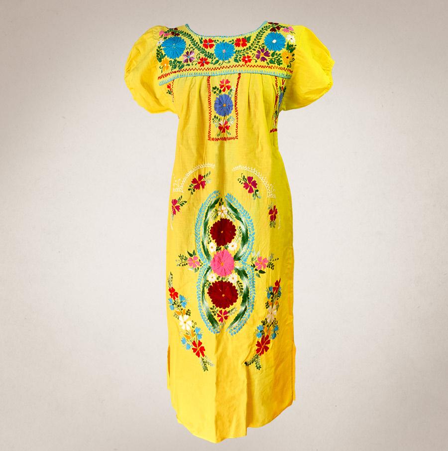 Traditionelles Kleid mit Blumen-Stickerei gelb