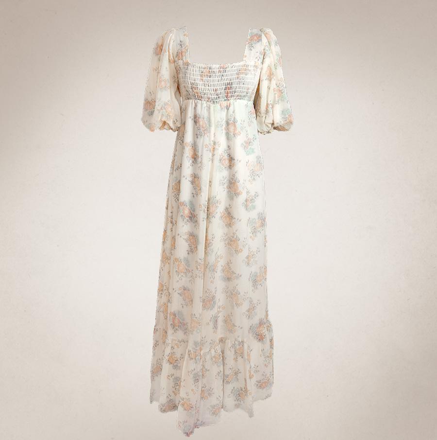 Brautkleid Blumig In Cremegelb Frau Lux Vintage