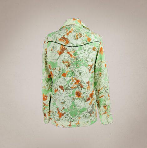 Frau Lux Vintage – Grün gemusterte Countrybluse