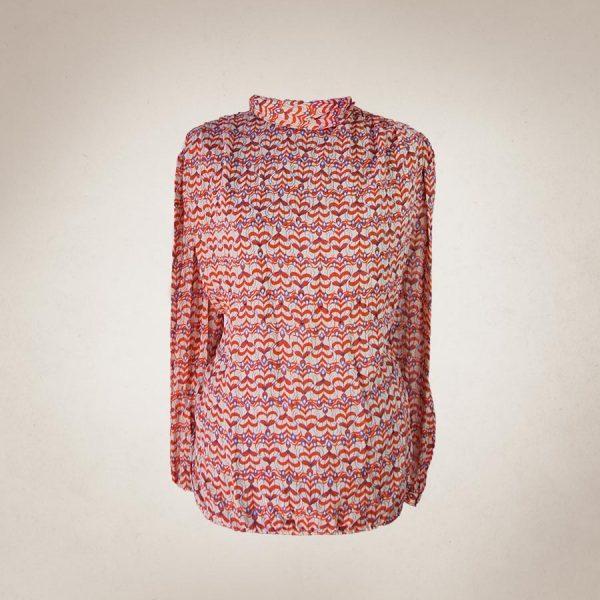 Frau Lux Vintage – Bluse mit 60er Jahre Muster rot/blau