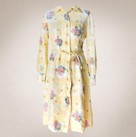 Frau Lux Vintage – Blusenkleid gelb kariert
