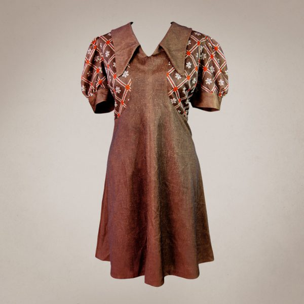 Frau Lux Vintage – &0er Jahre Minikleid braun gemustert