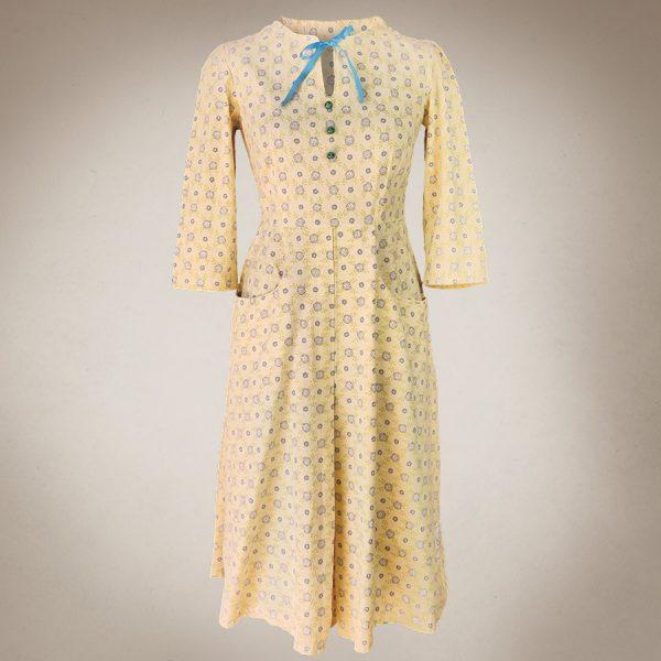 Frau Lux Vintage – zartgelbes 40er Jahre Vintagekleid