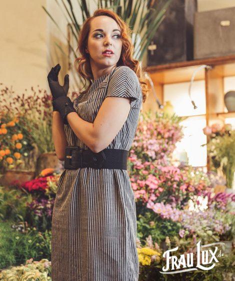 Frau Lux Vintage – grau gestreiftes original 50er Jahre Kleid