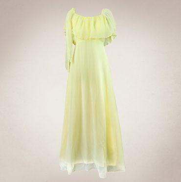 Frau Lux Vintage – zartgelbes Chiffonkleid