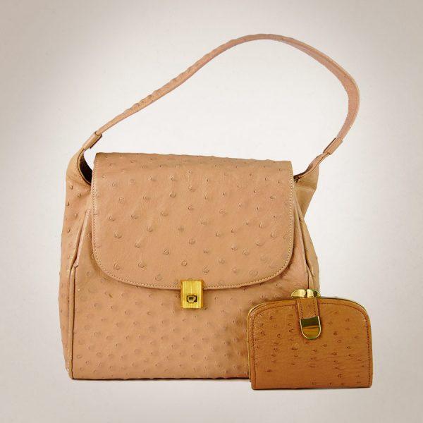 Frau Lux Vintage – Straußenledertasche und Portemonnaie im Set in der Farbe nude