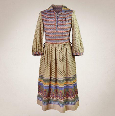 Frau Lux Vintage – Hemdblusenkleid beige gemustert