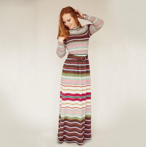 Frau Lux Vintage –Longsleeve Kleid gestreift