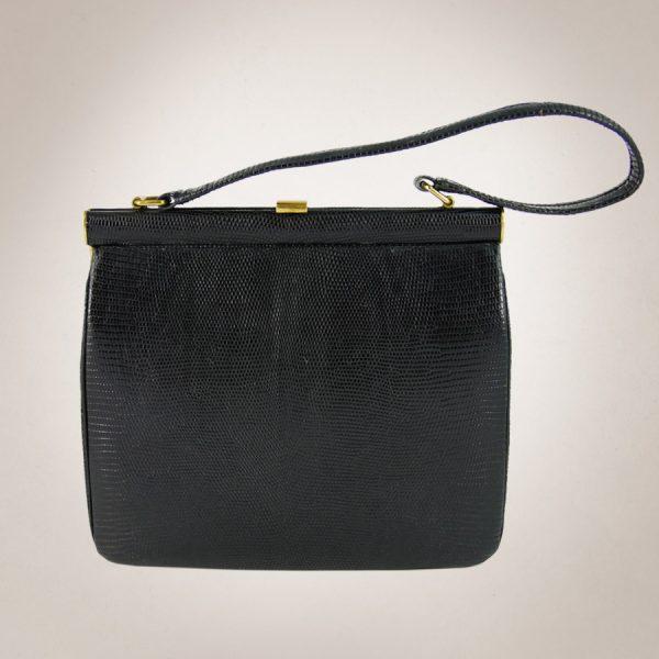 Frau Lux Vintage –schwarze Lederhandtasche mit Goldverschluss