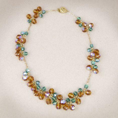 Kristallperlenkette in gold, türkis und cognac