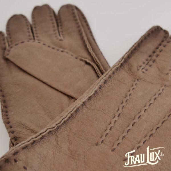 Frau Lux Vintage – hellbraune Lederhandschuhe