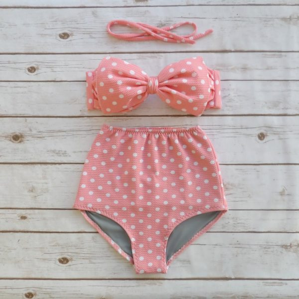 Highwaist Bikini in rosa mit weißen Punkten