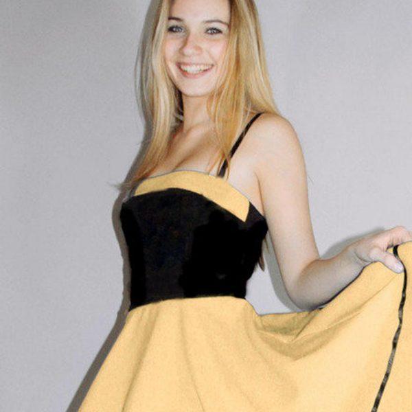 Petticoatkleid schwarz und Maisgelb von Rockabillymode