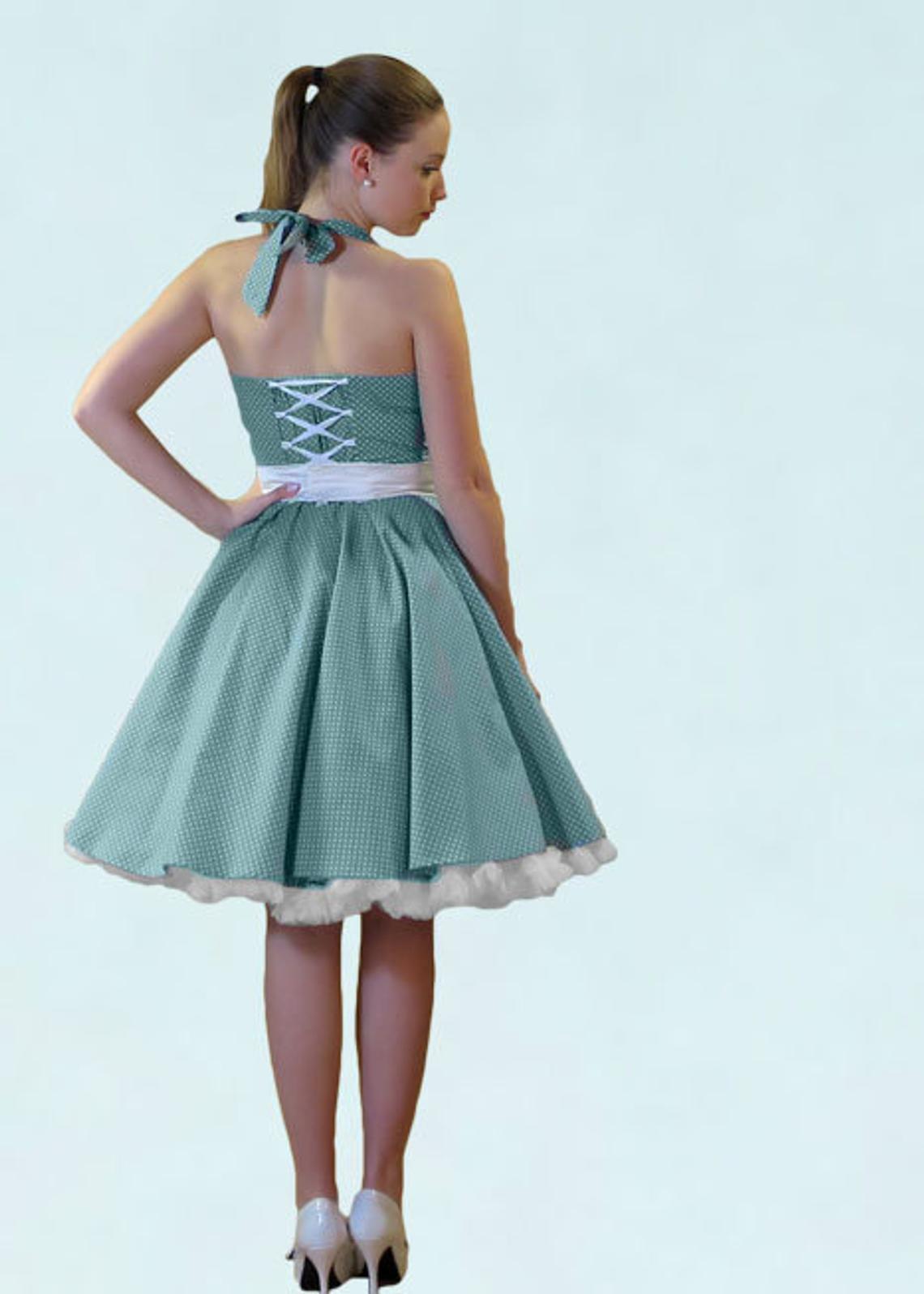 50er Jahre Kleid Turkis Frau Lux Vintage