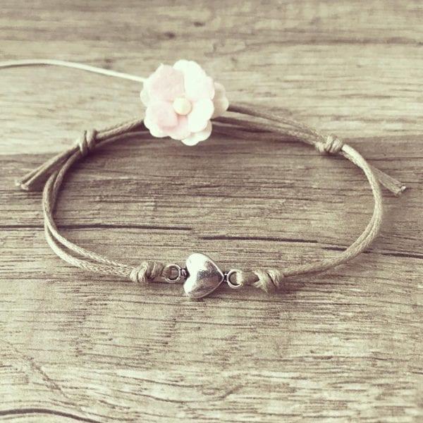 Armband Herzchen mit Lederband von Florabella